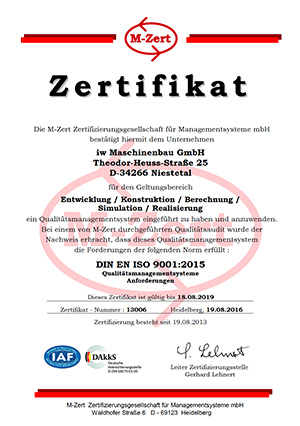 The iw machine is certified according to DIN EN ISO 9001: 2015